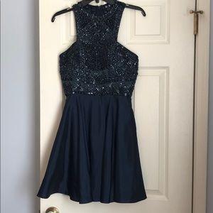Sherri Hill Navy blue short formal